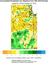 Accumulated Precipitation (in): Departure from 1981-2010 Normals Aug. 01, 2015 to Aug. 31, 2015