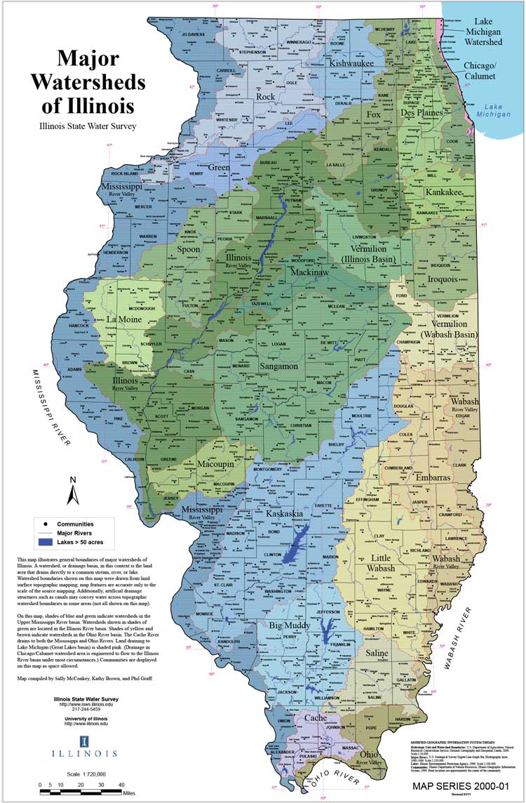 Major Watersheds of Illinois