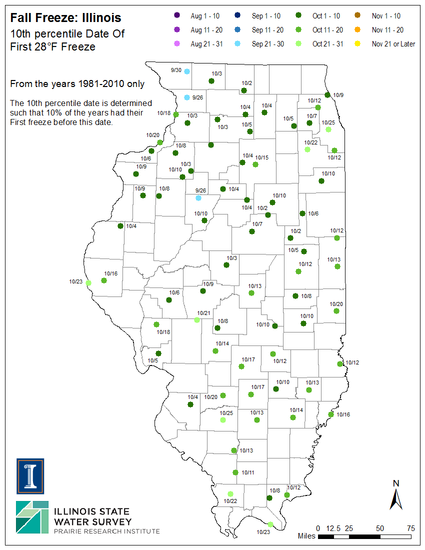 Illinois Frost Dates And Growing Season Illinois State - Frost line map us