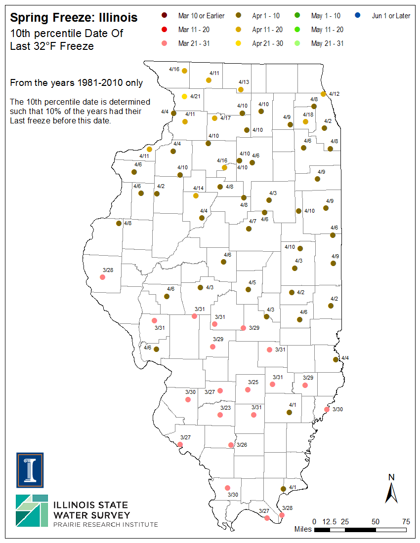 Illinois Frost Dates and Growing Season, Illinois State ...