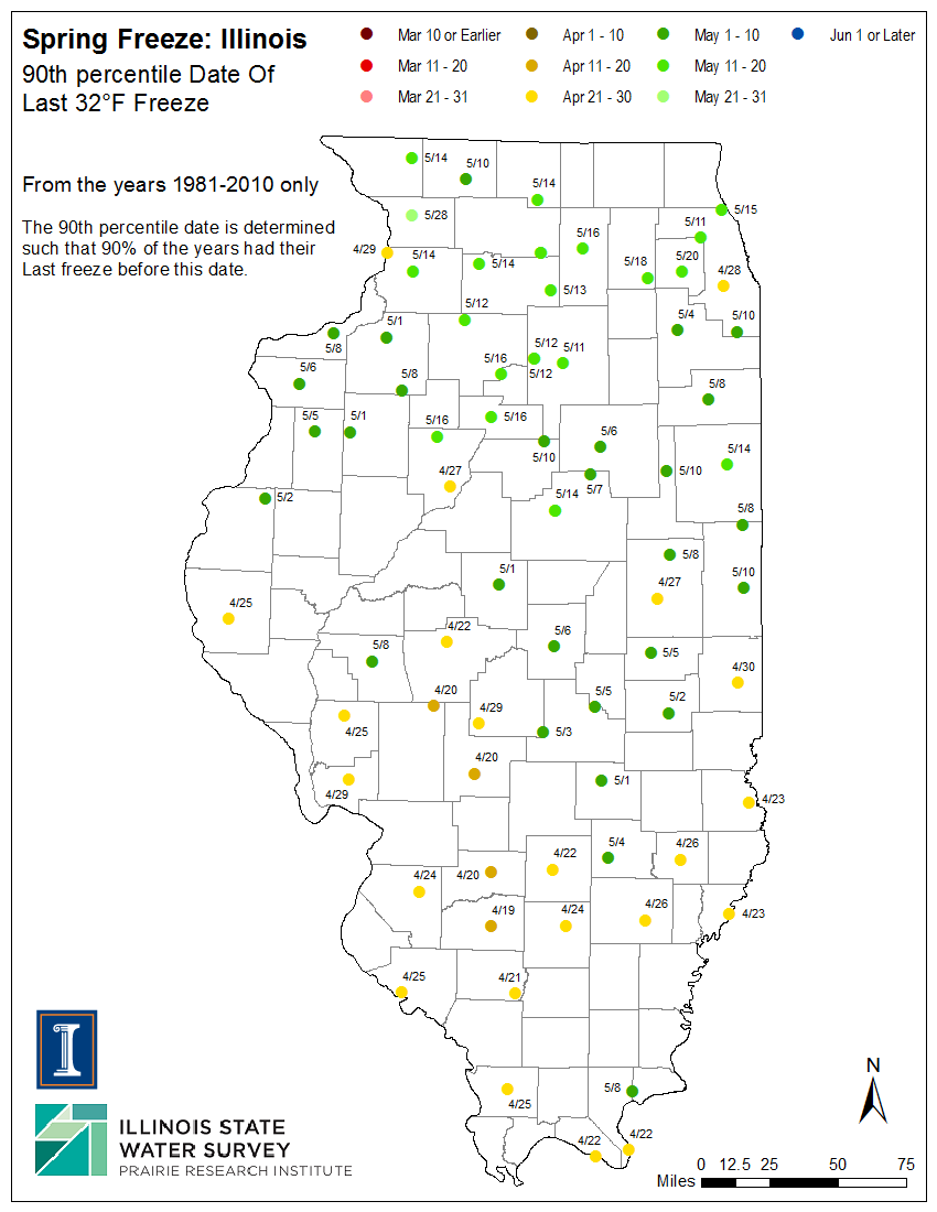 Illinois Frost Dates and Growing Season, Illinois State ...