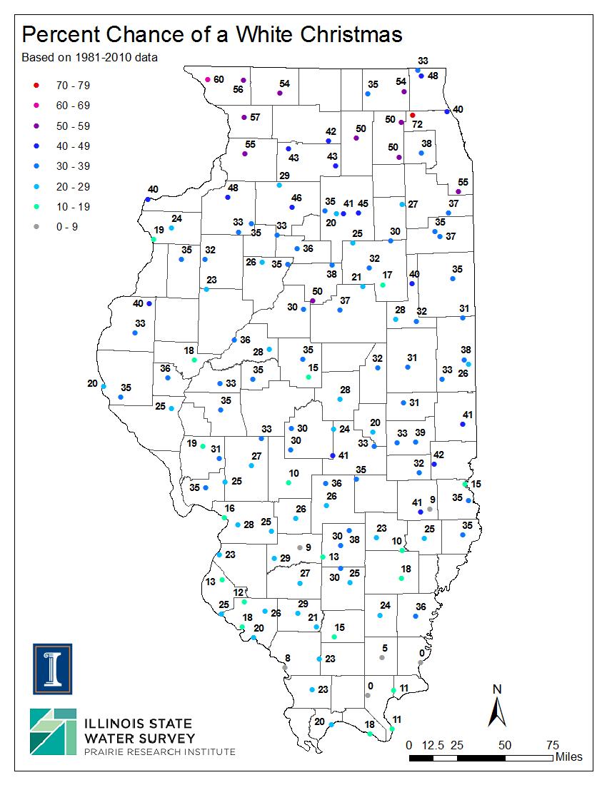 Chances of a White Christmas in Illinois, Illinois State ...