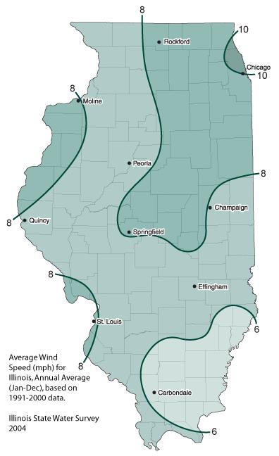 Southern Illinois Map With Cities.Average Wind Speeds In Illinois Illinois State Climatologist Office