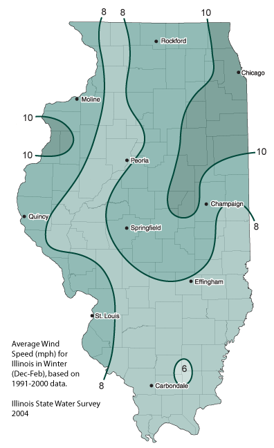 Average Wind Speeds in Illinois, Illinois State Climatologist