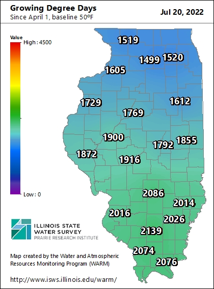 WARM map displaying Growing Degree Days throughout Illinois